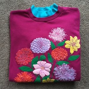 Vintage Quips Double Collared Floral Sweatshirt